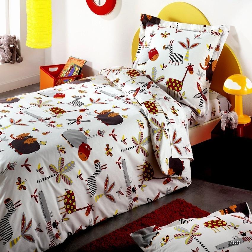 linge de lit zoo Drap 180x290cm   Zoo par Bidibulle   La boutique Novalinge linge de lit zoo