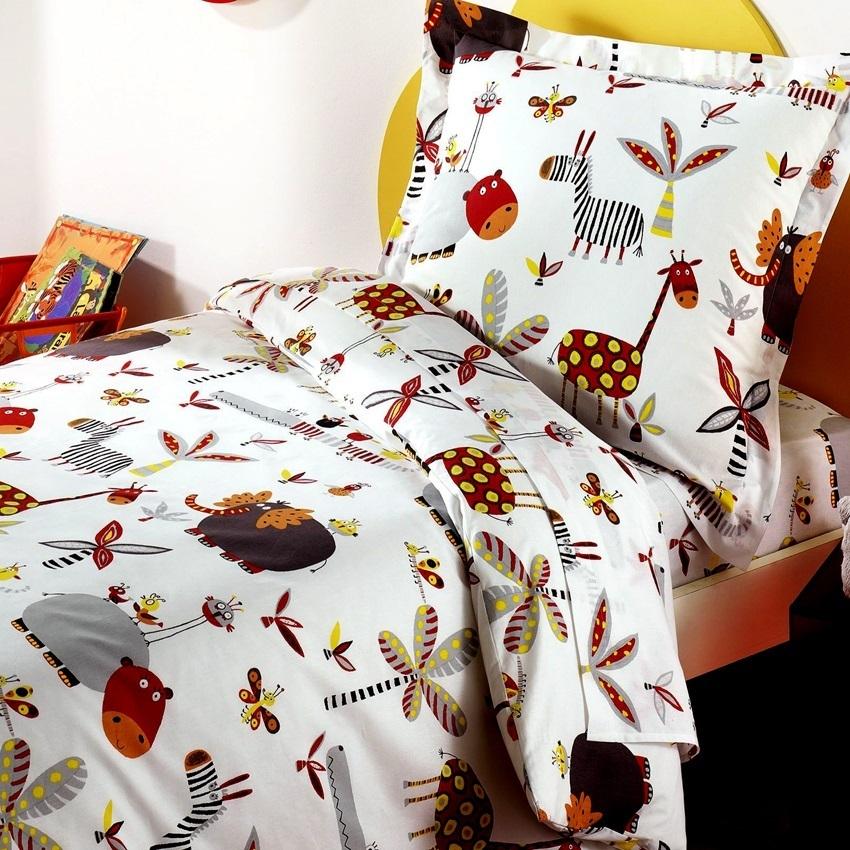 housse de couette 200x200cm zoo par bidibulle la. Black Bedroom Furniture Sets. Home Design Ideas