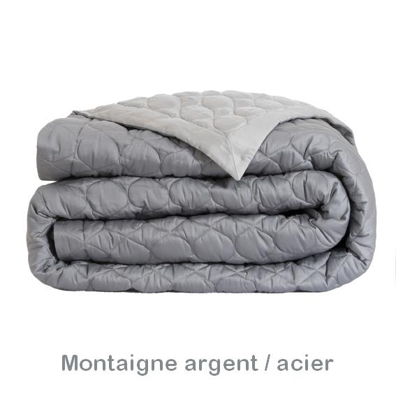 couvre lit argenté Montaigne argent/acier   Alexandre Turpault   Couvre lit 280x260cm  couvre lit argenté