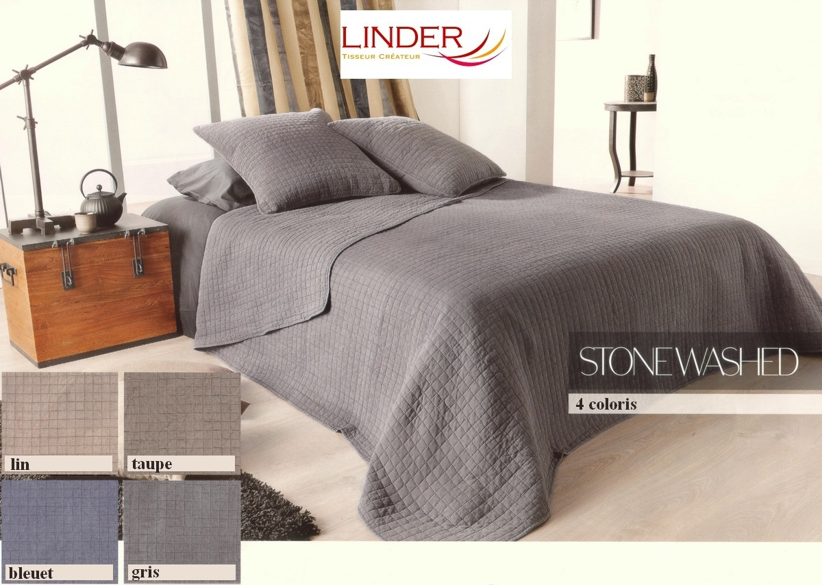 stonewashed taupe 28 par linder jet de lit 180x240cm 1 taie la boutique novalinge. Black Bedroom Furniture Sets. Home Design Ideas