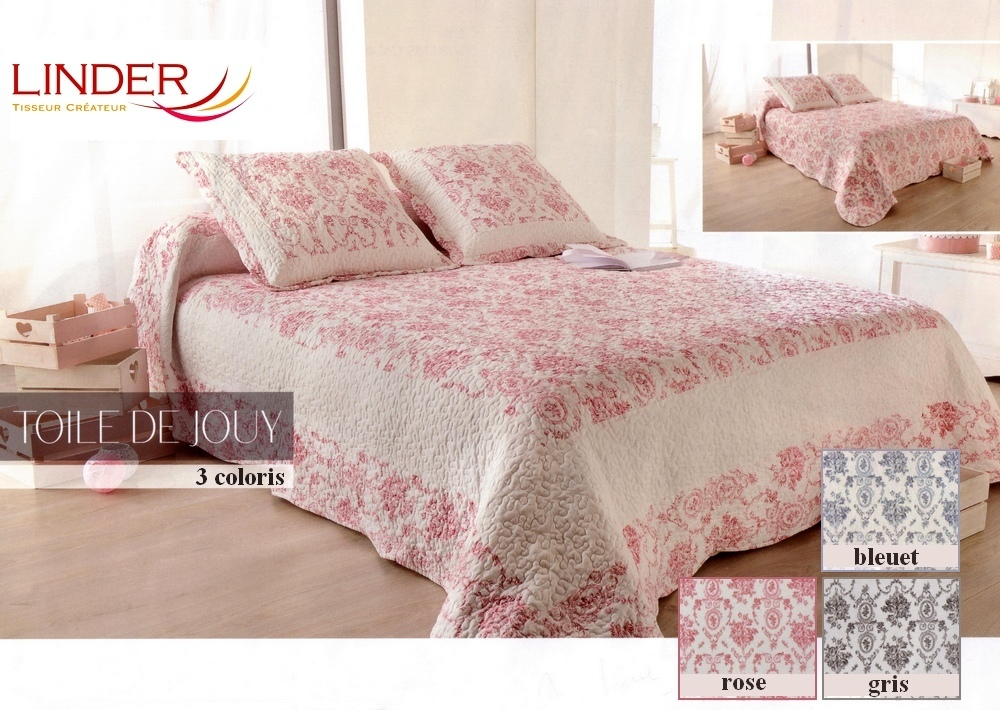 toile de jouy rose 60 par linder jet de lit 250x260cm 2 taies la boutique novalinge. Black Bedroom Furniture Sets. Home Design Ideas