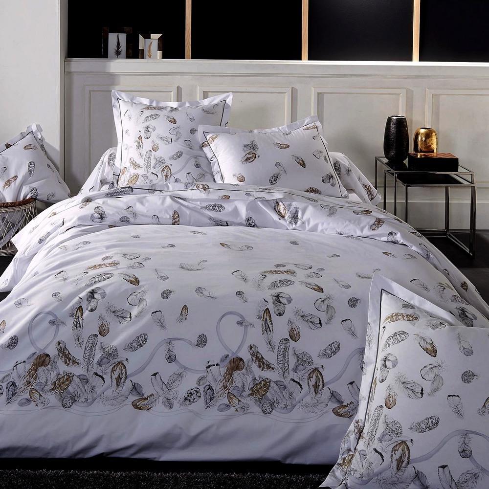 drap housse 180x200cm uni blanc plumes par tradilinge la boutique novalinge. Black Bedroom Furniture Sets. Home Design Ideas