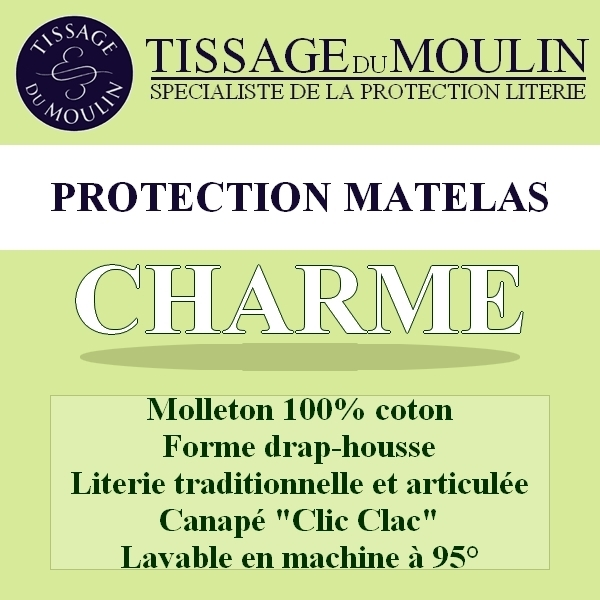 prot ge matelas clic clac 130x190cm charme par tissage du moulin la boutique novalinge. Black Bedroom Furniture Sets. Home Design Ideas