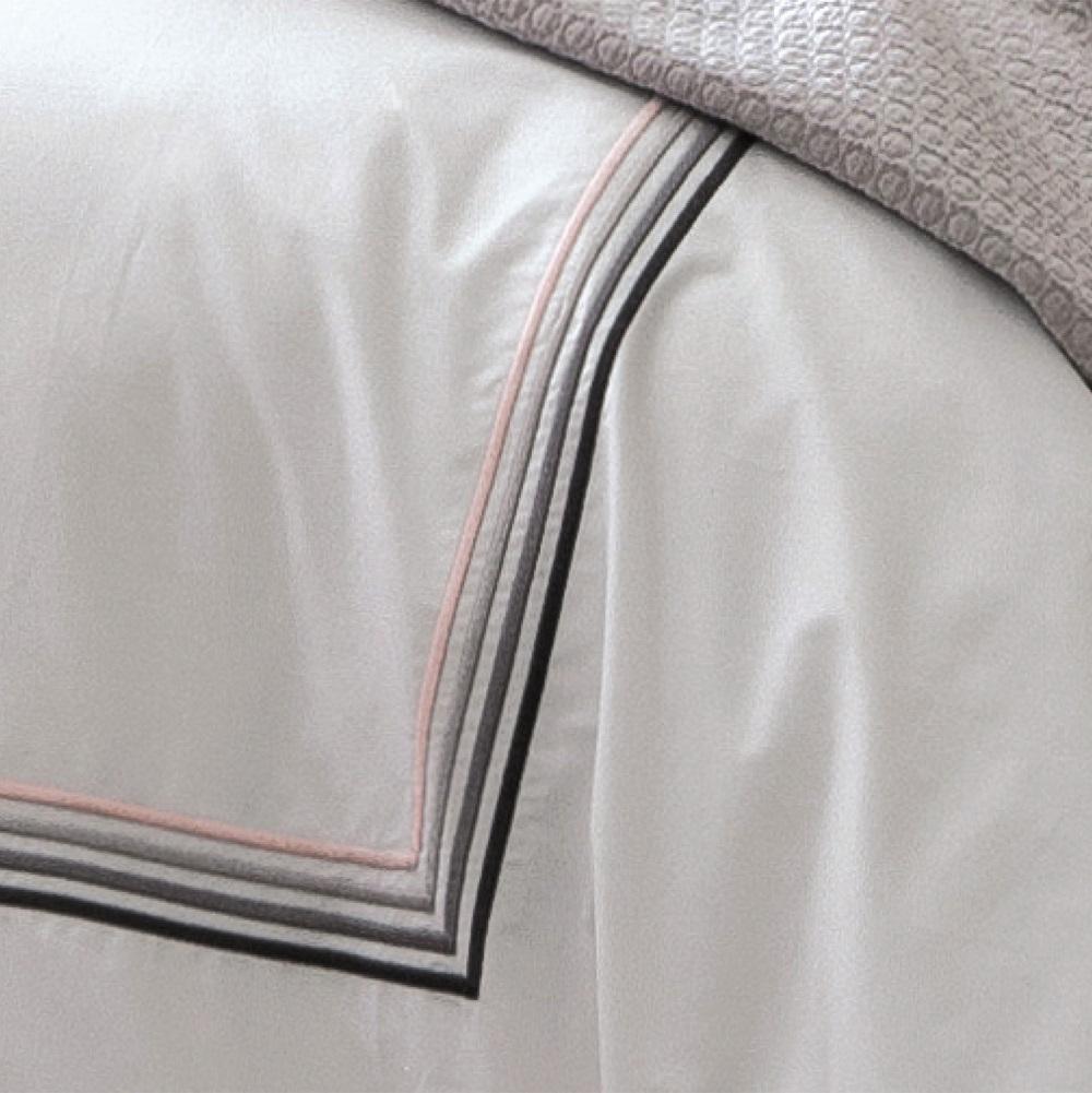 Taie d 39 oreiller 50x75cm volant gris harmonie nacre - Anne de solene housse de couette ...