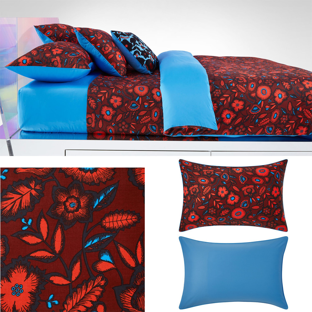 housse de couette 200x200cm estival rouge par kenzo maison la boutique novalinge. Black Bedroom Furniture Sets. Home Design Ideas