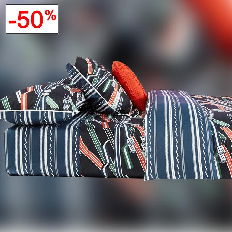 drap housse 140x200cm ribbons encre par kenzo maison la boutique novalinge. Black Bedroom Furniture Sets. Home Design Ideas